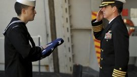 Burial at sea with flag ceremony